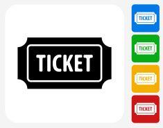Admission Ticket Icon Flat Graphic Design vector art illustration