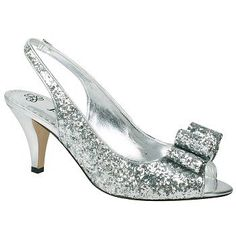 Women's J. Renee Rosina Silver Glitter Shoes.com. Sparkle and shine all night in the Rosina slingbacks from J. Renee.