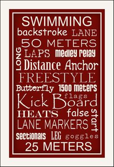 Subway Art Sign Swimming Typography Sports Print by PaperBleu, $21.00