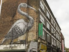 """Stork"" by Roa, Hanbury Street, E1. | 26 Stunning Street Art Murals In East London"