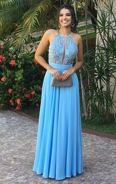 Prom Dresses Ball Gown, Charming A Line Halter Chiffon Blue Lace Long Prom Dress, Elegant Formal Evening, from the ever-popular high-low prom dresses, to fun and flirty short prom dresses and elegant long prom gowns. Long Prom Gowns, Backless Prom Dresses, Tulle Prom Dress, Grad Dresses, Formal Evening Dresses, Mermaid Dresses, Elegant Dresses, Beautiful Dresses, Bridesmaid Dresses