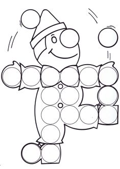 'Please Give The Clown His Pom Pom Dots Back?'( using little round paper snips, Bingo Dots, or shaped stickers.) after that Color the Total Scene! Clown Crafts, Circus Crafts, Mardi Gras Activities, Theme Carnaval, Sunday School Coloring Pages, Preschool Art Projects, Do A Dot, Color Games, Circus Theme
