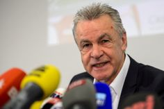Switzerland's national football team German coach Ottmar Hitzfeld speaks to announce the players he named to compete during the FIFA World Cup in Brazil during a press conference on May 13, 2014 in Zurich.