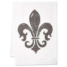 Check out this item at One Kings Lane! S/2 Fleur-de-Lis Tea Towels, Gray