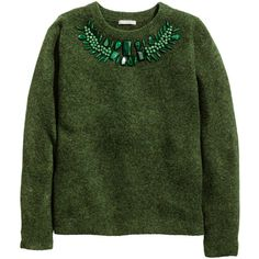 H&M Embellished jumper (79 SAR) ❤ liked on Polyvore featuring tops, sweaters, shirts, dark green marl, green shirt, beaded sweaters, shirt sweater, green top and beaded top