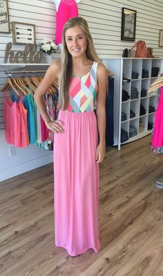 Georgia Geo Print Maxi-Coral - The Style Bar Boutique  - 1