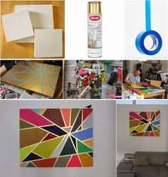 How to DIY Tape Painting on Canvas | www.FabArtDIY.com