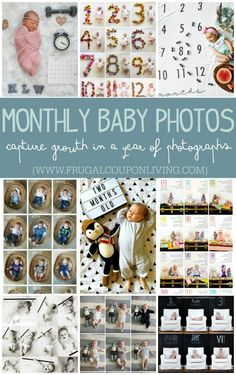 Monthly Baby Photo Ideas - Track Your Baby's Age in Photos plus FREE Monthly stickers and signs on Frugal Coupon Living. Baby photo ideas newborn to age one.