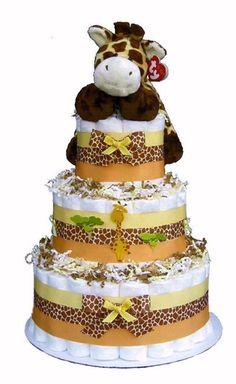 Giraffe Jungle Safari Baby Shower Gift Diaper Cake - Neutral; for Tara