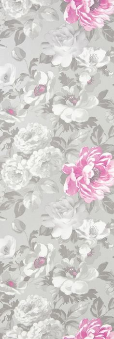 Roseus Wallpaper A delightful and vibrant floral wallpaper with a hand painted style print in white and pink on a silver reflective background.