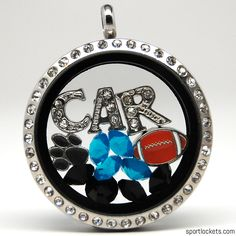Carolina football themed locket necklace from SportLockets.com. Customize this jewelry with your own letters!
