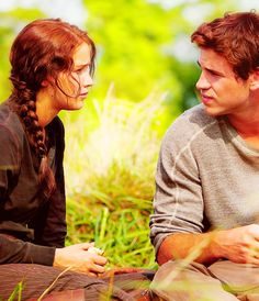 The Hunger Games - Katniss and Gale.  I don't like the Hunger games but they are a cute couple.