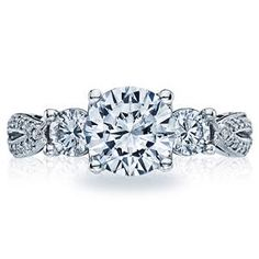 Shop online TACORI 2637RD75 Three Stone 18K - White Gold Diamond Engagement Ring at Arthur's Jewelers. Free Shipping