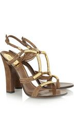 GucciMetallic leather and suede sandals