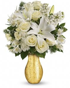 cool Dream with Me, A dreamy mix of creamy blooms looks heavenly inside a golden mercury glass vase that shimmers with the light. What a romantic way to share your dreams! , http://sendflowerstocalgary.com/product/dream-with-me-send-flowers-to-calgary-by-calgary-flowers/, 94.95