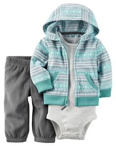 Taking him from tummy time to nap time, this fleece zip-front cardigan set features kanga pockets, an allover print and a cozy hood. Complete with a coordinating bodysuit and pants.