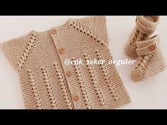 ÖRGÜ ERKEK BEBEK YELEĞİ YAPIMI - YouTube Baby Vest, Baby Cardigan, Lace Knitting Patterns, Crochet Baby Shoes, Fashion Tag, Baby Month By Month, Baby Booties, Baby Knitting, Peta