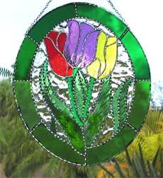 """Stained Glass Tulip Suncatcher - Handcrafted Floral Sun Catcher  - 11"""" x 12"""""""