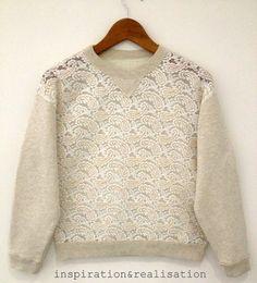 DIY sweatshirt refashion with lace