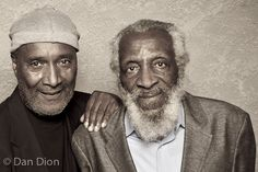 Portrait of comedians Paul Mooney and Dick Gregory by photographer Dan Dion.