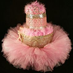 Pink & Gold Diaper Cake Tiara Tutu Beads Feathers Baby Girl Baby Shower Baby Gift Birthday Gift for her Baby Shower Crafts, Baby Shower Parties, Baby Shower Decorations, Pearl Centerpiece, Candle Centerpieces, Luvs Diapers, Pink Und Gold, Baby Pearls, Pink Pearls