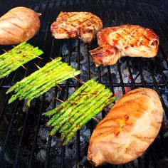 Beer brined pork chops, grill baked sweet potatoes and grilled ...