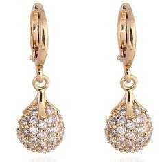 kvinders måde unikt design 18k guld zircon øreringe – DKK kr. 45