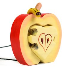 """Do you looking Toy Stacker The """"APPLE WITH WORM"""" ? On BumbuToys you can find handmade wooden toys. Animals Wooden Toys, Tree Wooden Toys, Figurines Wooden Toys, Montessori Wooden Toys and Waldorf Wooden Toys. Organic Oils, Handmade Wooden Toys, Natural Shapes, Wood Toys, Fine Motor Skills, Wood Colors, Worms, Pet Toys, Romania"""