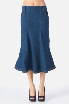 Women's Flared mid-calf skirts with belt loops | skirtses