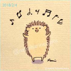 1402 はりこ、歌うよ I sing a song. #illustration #hedgehog #イラスト #ハリネズミ #なみはりねずみ