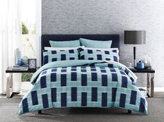 A modern geometric ikat to complement any contemporary home #bedroom #bedbathntable