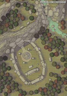 Conifer Forest hills cliffs Shrine wilderness CrossheadStudios Forest Battlemap for D&D, Dungeons and Dragons, Pathfinder, and other RPG games. Fantasy Map Maker, Fantasy World Map, Fantasy Rpg, Medieval Fantasy, Fantasy Dragon, Fantasy Hair, Rpg Wallpaper, Rpg Maker, Forest Map