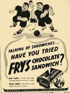 My favourite childhood chocolate Vintage Food Posters, Vintage Food Labels, Vintage Packaging, Vintage Recipes, Sandwiches, Sandwich Bar, Red Chocolate, Football Themes, Drink Labels