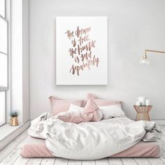 The Dream Is Free The Hustle Sold Separately Motivation Handlettered Calligraphic Rose Gold Quote Poster Prints Printable Wall Decor Art - need this quote in some way/shape/form for home/office! Rose Gold Rooms, Rose Gold Decor, Rose Gold Bed, Gold Bedroom, Bedroom Decor, Bedroom Ideas, Dream Bedroom, Design Bedroom, Bedding Decor