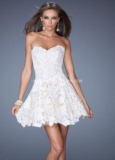 LATEST Strapless La Femme 19160 White Short Lace Cocktail Dress [La Femme 19160]