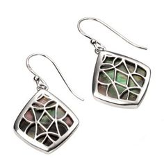 Black Mother of Pearl and Sterling Silver Lattice Earrings
