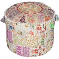 white Bohemian Vintage Patchwork Indian Pouf Large Round Ottoman Seat... ($45) ❤ liked on Polyvore featuring home, furniture, ottomans, white round ottoman, round ottoman, round footstool, round furniture and cotton ottoman
