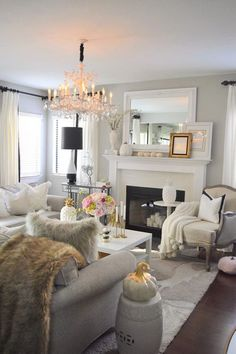 Lux Decor: Bright living room with light linen colored sofa and ...
