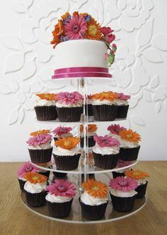roses and gerberas wedding cupcake tower-sugar paste artistry!
