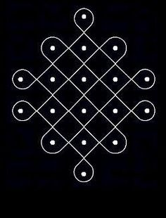 6 - 2 parallel dots (Neer Pulli) Kolam - Start with 6 dots in the center, leave one dot at both ends and stop at 2 by putting parallel dots. Simple Rangoli Designs Images, Rangoli Border Designs, Rangoli Patterns, Rangoli Ideas, Rangoli Designs Diwali, Rangoli Designs With Dots, Kolam Rangoli, Flower Rangoli, Rangoli With Dots