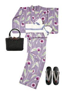 【ELLE】「紫織庵」の紫地アザミ柄|今年もやります!「エル・ショップ」で買える2016夏のおしゃれ浴衣|エル・オンライン Maude, Yukata Kimono, Summer Kimono, Yamamoto, Pajamas, Japanese, Outfits, Collection, Craft
