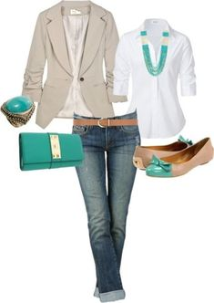 Jeans, white button up, tan blazer, turquoise jewelry.