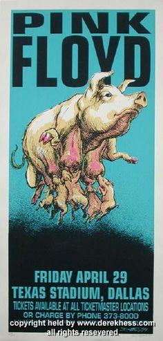 """Pink Floyd poster (Hess 94-08) (click image for more detail) Artist: Derek Hess Venue: Texas Stadium Location: Dallas, TX Concert Date: 4/29/1994 Edition: signed and numbered out of 350 Size: 16 3/8"""""""