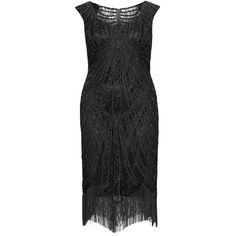 Viviana Black Plus Size Embellished lace cocktail dress ($305) ❤ liked on Polyvore featuring dresses, black, plus size, plus size flapper dress, womens plus size cocktail dresses, plus size cocktail dresses, flapper cocktail dress and plus size special occasion dresses