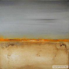 Tableau peinture contemporaine,Paysage abstrait,orange, terre craquelée, immensité, rêverie,acrylique,jaune