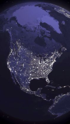 North America from Space by NASA, this image was taken at night from a composite picture of the Earth at various times of the night. Cosmos, Earth At Night, Earth Photos, Earth Pictures From Space, Sistema Solar, Earth From Space, Stars At Night, Night Clouds, Amazing Spaces