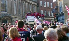 The York City FC victory parade in York, North Yorkshire.