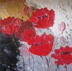 Bloemen abstract, maat 40x40 acrylverf, 95 euro