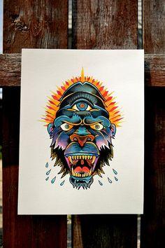 Gorilla Traditional tattoo print by FloodingFactory on Etsy, $16.00