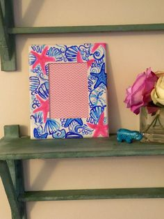 hand painted lilly pulitzer inspired frame by katiehermanart